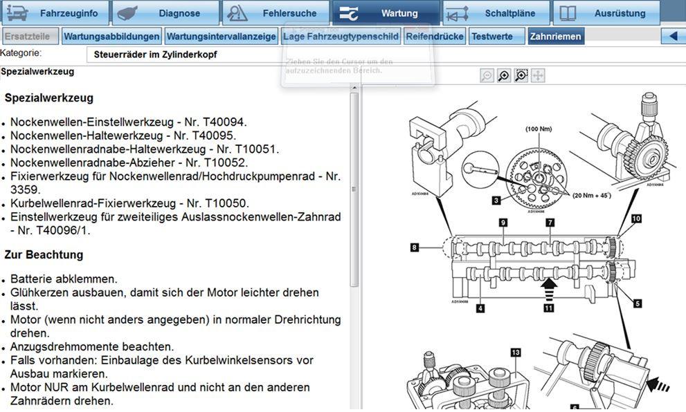 Sie sehen Texte und Zeichnungen eines PC-basierten Informationssystems