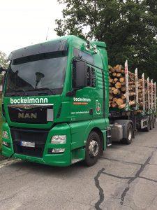 Lkw mit Auflieger für Baumstämme