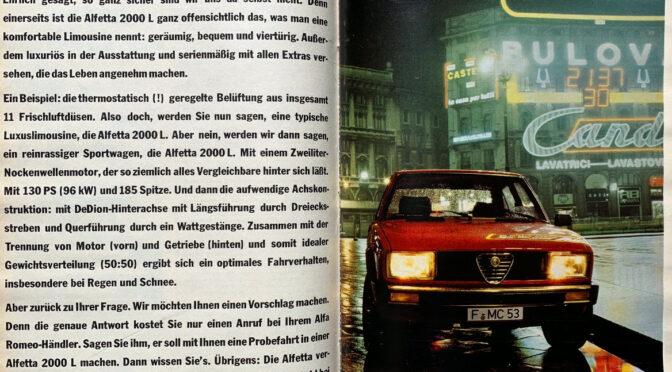 Werbeanzeige der Alfetta 2000 L aus den 1980er Jahren